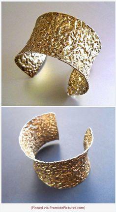 b2f79931aff Italian Sterling Silver Cuff Bracelet FINOLA, Textured Gold Wash, Extra Wide  Vintage #cuff