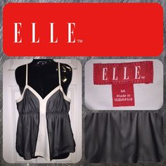 Elle spaghetti strap tank ~ B-5 Gorgeous black and off white top. Worn twice. Excellent condition. Elle Tops Tank Tops