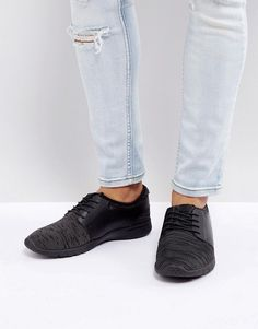New Look Runner Sneakers With Knitted Detail In Black - Black