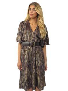 MICHAEL Michael Kors Printed Belted Midi Dress in brown www.sabrinascloset.com