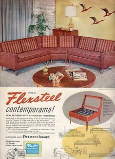 Flexsteel Furniture Ad 1958-This version with the steel suspension system they still use today is too cool!