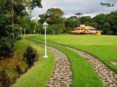 Caminho de pedra moledo nessa entrada do sítio em Nazaré Paulista-SP com a execução do paisagismo com o gramado de grama esmeralda.