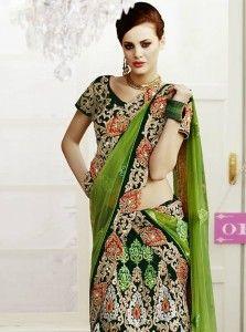 Exclusively Green Sequins Work Velvet Wedding Lehenga Choli