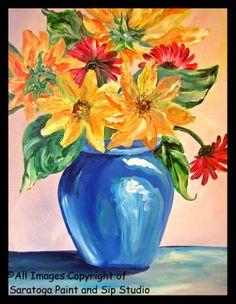 SUNFLOWER BOUQUET Saratoga Paint & Sip Studio