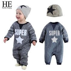 477282a44b79 HE Hello Enoy Baby boy Clothes Set winter Long letter jumpsuits suit +  stars hat casual