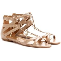 Aquazzura Beverly Hills Flat Leather Sandals (21.545 RUB) ❤ liked on Polyvore featuring shoes, sandals, flat, neutrals, flat footwear, brown flat sandals, brown shoes, flat sandals and leather footwear