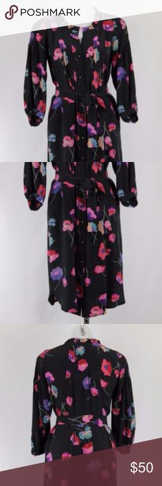 "Rebecca Taylor Silk Dress Sz 2 Rebecca Taylor Black Red Floral Print 100% Silk Button Down Shift Dress Size 2 Dry Clean Only  MEASUREMENTS Top of garment to bottom 41"" Bust 38"" Sleeve 19.5"" Waist 39"" Hips 43"" Rebecca Taylor Dresses"