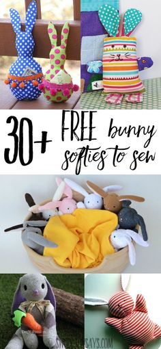 Check out over 30 free bunny softie sewing patterns. These are rabbit sewing tutorials and rabbit sewing patterns, all easy to make and perfect for handmade Easter basket ideas. Sewing Hacks, Sewing Tutorials, Sewing Crafts, Sewing Tips, Sewing Ideas, Softies, Leftover Fabric, Love Sewing, Sewing For Kids
