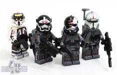 The 'Bad Batch' as minifigures. Star Wars Rebels, Lego Star Wars, Funko Pop Star Wars, Star Wars Minifigures, Star Wars Clone Wars, Lego Minifigs, Lego Clone Army, Lego Army, Lego Custom Clones