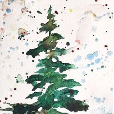12 Days of Christmas Cards! Today's card #painting tutorial is a lovely little #Christmas tree in the snow. #watercolor