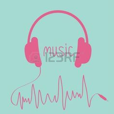 Pink headphones with red cord in shape of cardiogram. Card. Vector illustration. photo