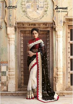 Alluring black contrasted off white net Georgette saree with diamond resham work added brocade border carrying raw silk blood red blouse.