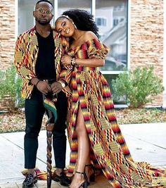 African Wedding Attire, African Attire, African Wear, African Dress, Ghana Wedding Dress, African Print Wedding Dress, African Women, Couples African Outfits, Couple Outfits