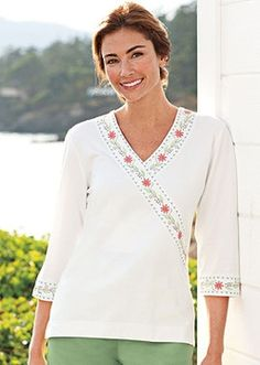 Women's Faux-Wrap Embroidered Edge Tee in Spring 2013 from Norm Thompson on shop.CatalogSpree.com, my personal digital mall.