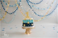 1st birthday smash cake - stars themed birthday - navy ombre