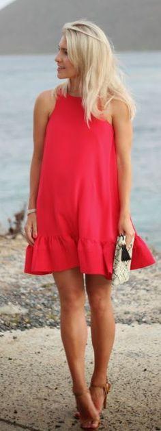 Poppy Red Little Dress Summer Style                                                                             Source