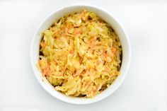 Spicy Mustard Slaw ~ perfect on a pulled pork sandwich or even on a hot dog! Just try it!