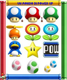 mario bros power ups Super Mario Bros, Super Mario Birthday, Mario Crochet, Hero Up, Mario Room, Mushroom Tattoos, Kids Activity Books, Mario Party, Mario And Luigi