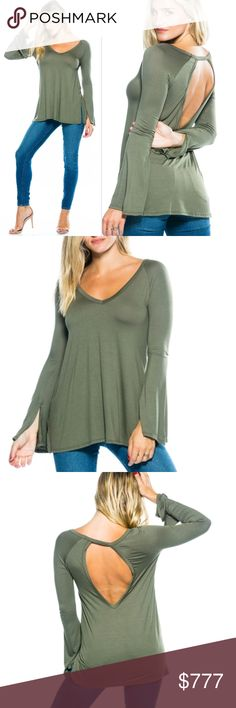 """PRE ORDER NOW OLIVE GREEN BELL SLEEVED TOP PRE ORDER NOW, COMMENT SIZE NEEDED  WILL BE $ 39    Made In: USA 95% RAYON / 5% SPANDEX MODEL IS WEARING A SMALL: Model Measurements  Model is 5'7"""" and wearing a Small (Waist 25"""", Bust 32D"""", Hips 36"""") . Tops Tees - Long Sleeve"""