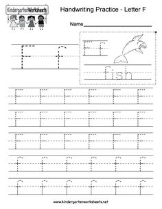 "This is a letter F tracing worksheet. Children can trace uppercase and lowercase letters and the word ""fish."" You can download, print, or use it online. Free Printable Alphabet Worksheets, School Worksheets, Writing Worksheets, Handwriting Practice Worksheets, Handwriting Alphabet, English Worksheets For Kindergarten, Kindergarten Writing, Letter F, Letter Tracing"