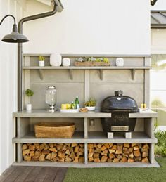 smoker and buffet table