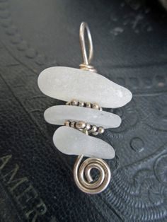 Genuine White Sea Glass Stack Cairn Style Pendant by stacilouise, $21.00
