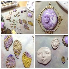 Jann Tague's Polymer Clay work table!   I love those faces!