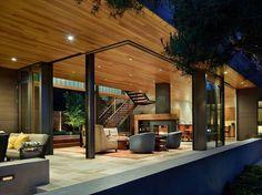 Maison de Seattle -déco du salon avec cheminée