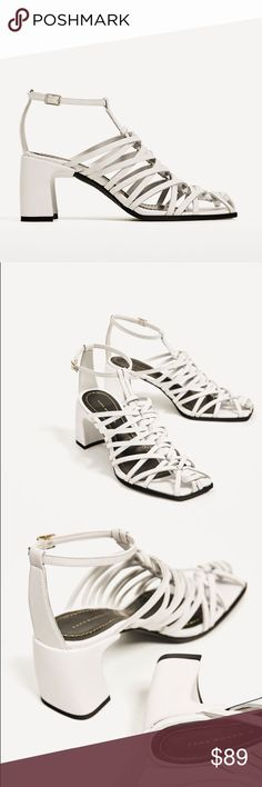 Zara white leather block heel sandals 2.7 inches heel..... cow leather upper... love strap details.... euro size 39(8), 40(9) Zara Shoes