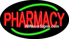 "Pharmacy Flashing Neon Sign-ANSAR14270  Dimensions: 17""H x 30""L x 3""D  Custom colors ship in 5-7 business days  110 volt flasher transformer  Cool, Quiet, and Energy Efficient  Hardware & chain are included  Comes standard with 6' power cord  Indoor use only  1 Year Warranty/electrical components  1 Year Warranty/standard transformers."