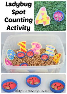 A simple activity to set up to encourage children to count spots onto a ladybug and match the numeral to the number of spots on the ladybird.