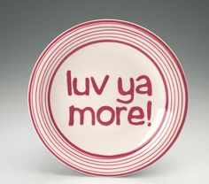 Love Plate Red and White Valentine Ceramic by owlcreekceramics, $20.00