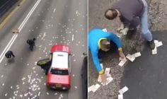 Regalone di Natale a Hong Kong: un veicolo blindato sparpaglia 2 milioni di dollaroni sull'autostrada.