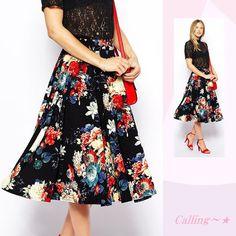 関税,送料込み★セレブ愛用!花柄プリントスカート☆ フレアの大胆な色と新鮮なプリントの活気のあるデザイン★ハイウエストで脚長効果もあります☆トップスをインしてスッキリとオシャレに着こなしたいですね♪