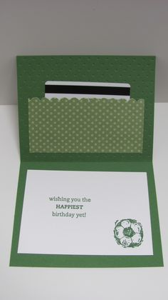 Great idea for any card with gift card option. Soccer birthday card using honeycomb embossing folder - inside card Money Holders, Card Holders, Fancy Fold Cards, Folded Cards, Gift Cards Money, Soccer Birthday, Bday Cards, Stamping Up Cards, Card Patterns