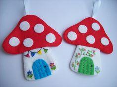 A selection of my felt makes. Mushroom Crafts, Felt Mushroom, Mushroom Decor, Easy Arts And Crafts, Crafts For Kids, Felt Bunting, Felt Banner, Felt Keyring, Felt Cupcakes