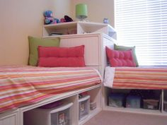 Perfect for 2 kids in a small room! So much storage! // If