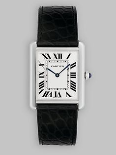 Cartier Tank Solo Stainless Steel Watch on Leather Strap, Large.