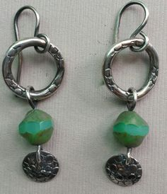 Sterling Silver Drop Earrings With Glass Green by JewelryByCynthia
