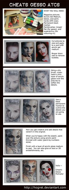 So you can't draw? Or you're bored with the traditional collage techniques that you know? Here's an alternative - Cheat Gesso Portraits. They are a good way to build confidence in dr...