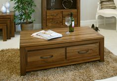 Mayan Walnut 4 Drawer Coffee Table will make for a fantastically stylish, spacious and practical centrepiece for any contemporary lounge setting. Fitted with four generously capacious drawers, This 4 Drawer Coffee