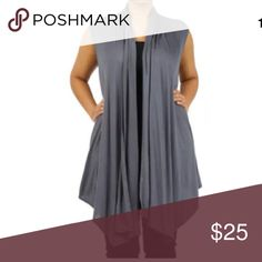 Plus Gray Sleeveless Cardigan Wrap Vest NEW A MUST HAVE!!  Featuring a soft rayon spandex open sleeveless cardigan vest. Flowly asymmetrical cut. Ruched at the top in the backside. This top can pretty much be layered over almost anything.   Made of: 94% Rayon & 6% Spandex Tops