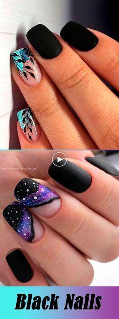 De mooiste zwarte winter nagels ideeën #nagel #kortenagel #nagelkunst