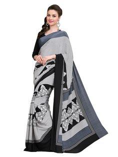 Crepe Silk Printed Cream & Black Saree -#fashion #style #desi #designer #wedding