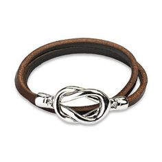 Brown Leather Double Loop Bracelet with Steel Knot Closure Design