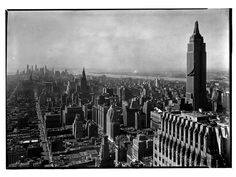 Manhattan, NYC, NY Photo by Samuel H. Gottscho, 1932 Image via Museum of the City of New York (Print Available) Stunning shot of Manhattan, looking south from the Chrysler Building. #ArtDeco #architecture