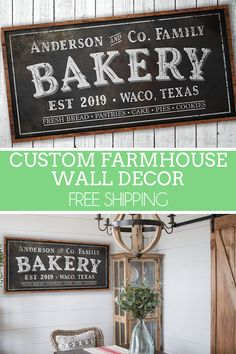 Custom Farmhouse Bakery Sign, Rustic Country Kitchen Wall Decor, Coffee Bar Station Sign, Big Family Last Name, Custom Housewarming Gift Country Wall Decor, Farmhouse Wall Decor, Modern Wall Decor, Farmhouse Kitchen Inspiration, Kitchen Ideas, Modern Rustic, Modern Farmhouse, Wood Kitchen Signs, Coffee Bar Station