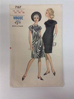 7167 Vogue Dress Pattern Sz 16 Bust 36 Vtg 60s