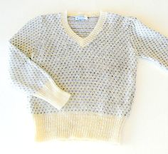 Vintage Womens  Mohair Pullover Sweater, 1970s Sweater by Judyanna Ltd NY, Cream Blue & Gray Knit Pullover, Size Small Medium. by retrogroovie on Etsy