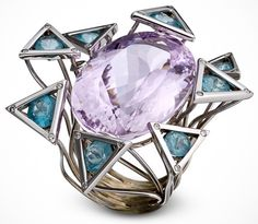 Medusa Ring from the Pièces d'exception Collection by Jean Christophe: White gold, kunzite, apatites, & diamonds